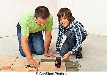 garçon, sien, plancher, placer, père, portion, carreau ceramique