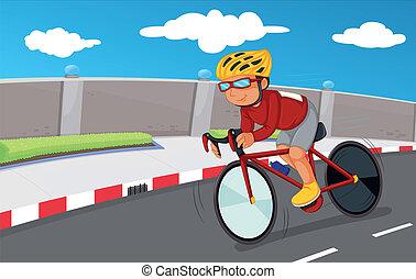 garçon, sien, sécurité, engrenages, faire vélo