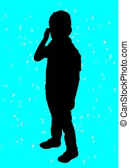 garçon, silhouette