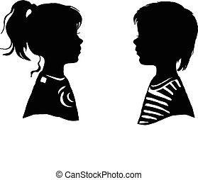 garçon, silhouette, illustration., deux, girl., vecteur