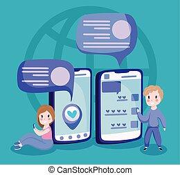 garçon, smartphones, vecteur, conception, dessin animé, girl
