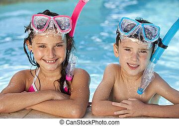 garçon, snorkel, lunettes protectrices, girl, piscine, natation