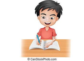 garçon, sourire, écriture