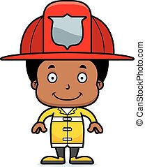 garçon, sourire, pompier, dessin animé