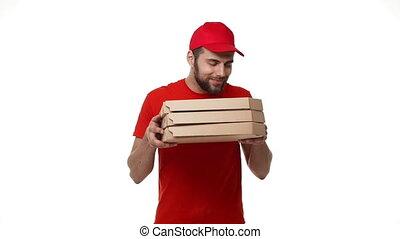 garçon, spyhole., coup, maison, uniforme, livraison, boîtes, par, rouges, tenue, lens., vu, pizza, pile, fisheye, confection