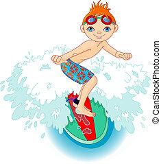 garçon, surfeur, action