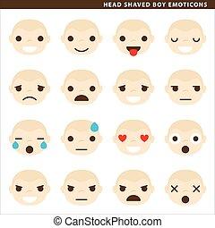 garçon, tête, rasé, emoticons
