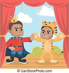 garçon, tigre, africaine, prince, surpris, étape