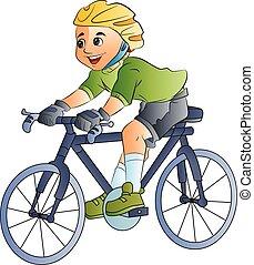 garçon, vélo, illustration, équitation