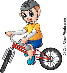 garçon, vélo, jeune, fond, équitation, blanc
