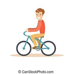 garçon, vélo, jeune, illustration, équitation