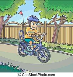 garçon, vélo, jeune, rue., équitation