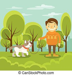 garçon, vecteur, chien