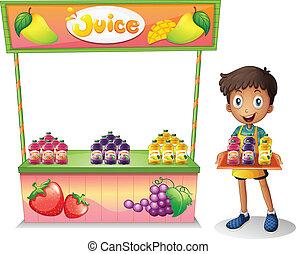 garçon, vente, jus fruit