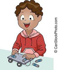 garçon, voiture électrique, illustration, tige, gosse