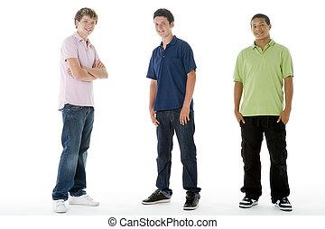 garçons, adolescent, plein portrait longueur