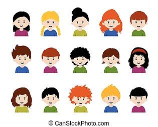 garçons, avatars, divers, mignon, grand, émotions, ensemble, filles, dessin animé, faces, gosses