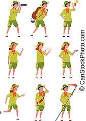 garçons, camping, scouts., gosses, caractères, uniforme, spécifique, childrens, filles, vecteur
