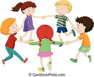 garçons, cercle, filles, tenant mains