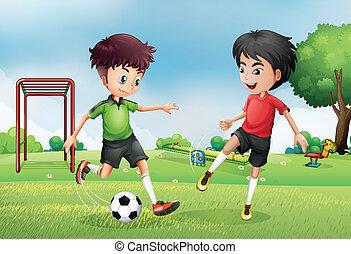 garçons, football, parc, deux, jouer