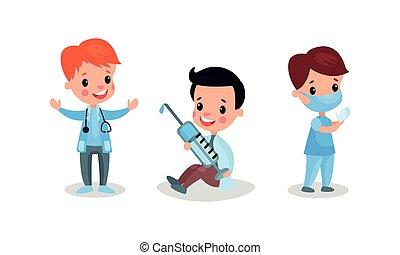 garçons, gai, docteur, ensemble, vecteur, illustration, jouer, infirmière