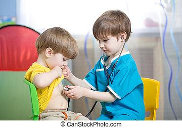 garçons, jeu, enfants, docteur