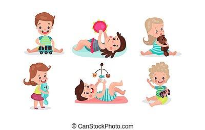garçons, jouets, divers, illistrations, vecteur, petites filles, avoir, ventilateur, jouer, ensemble