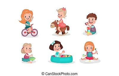 garçons, jouets, divers, vecteur, petites filles, illustrations, avoir, ventilateur, jouer, ensemble, six