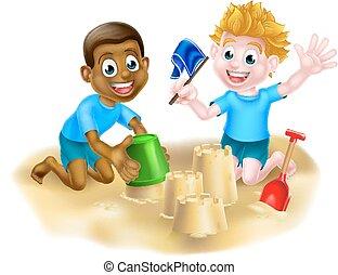 garçons, plage, dessin animé