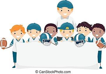 garçons, stickman, football, bannière