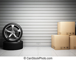 garage, parties, épargner, voiture
