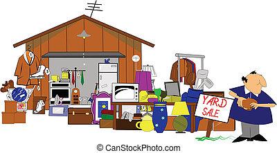 garage, yard, énorme, vente