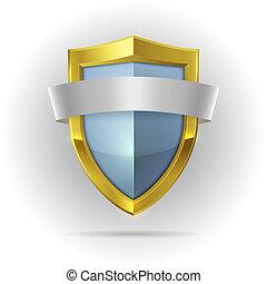 garde, emblème, bouclier, ruban, vide