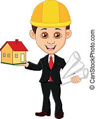 garde, hommes, maison, architecte
