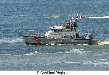 garde, opération, nous, bateau, côte, rescus