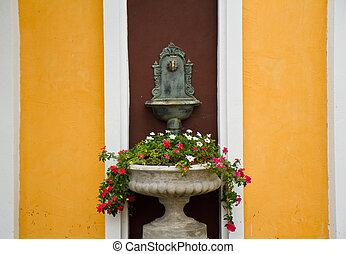 garden., potted fleurit