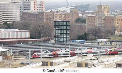 gare, lignes, stand, trains
