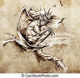 gargouille, tatouage, croquis, monstre, séance, arbre, art