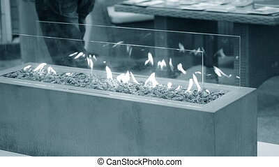gas., bio, moderne, cheminée, fireplot, éthanol