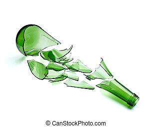 gaspillage, bouteille, boisson, cassé, vert, alcool