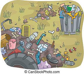 gaspillage, décharge