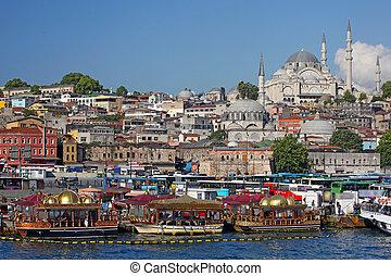gauche, mosquée, district, istanbul, ville, yeni, turquie, (turkish:, camii), eminonu, nouveau, valide