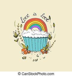 gay, petit gâteau, conception, mignon, lettrage