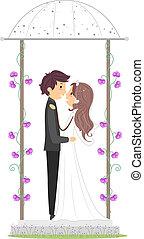 gazebo, nouveaux mariés