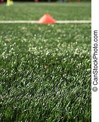 gazon, cônes, vert, équipement, formation, football, artificiel