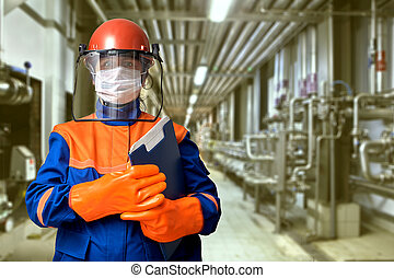 gear., femme, protecteur, ingénieur électrique