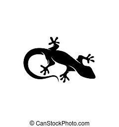 gecko, lézard, noir, silhouette, caméléon
