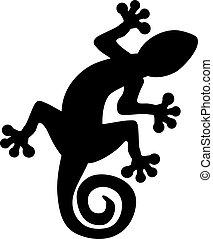 gecko, silhouette, lézard