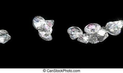 gemmes, sur, grand, diamants, rouler, ou