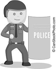 gendarme, tenue, bouclier